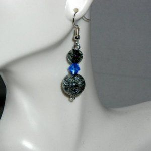 ❤️ NEW Smokey Crackle Blue Crystal Dangle Earrings